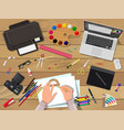artists or designer workplace vector image