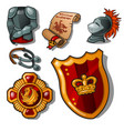 attributes of a medieval knight isolated vector image