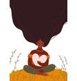beautiful black woman holding a big heart love vector image