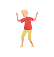 blond teenager boy in dancing action back view vector image