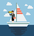 Business woman sailing and looking for future vector image vector image