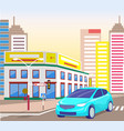 car in city center downtown street with cityscape vector image vector image