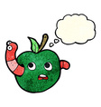 cartoon worm in apple with thought bubble vector image vector image