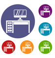 computer desk workplace icons set vector image vector image