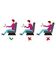 Correct and bad sitting postures for driver vector image vector image