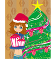 cute girl with gift box near by Christmas Tree vector image vector image