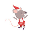 cute happy mouse dressed up in christmas santa vector image vector image