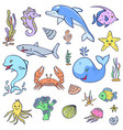 cute ocean animals vector image vector image