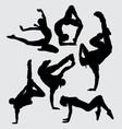 dance aerobic silhouette vector image vector image
