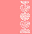 decorative vertical border from white hearts vector image vector image