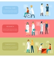 Doctor banners and medical staff banner set vector image