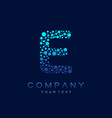 e letter logo science technology connected dots vector image vector image