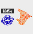 fired mosaic sergipe state map and grunge laayoune vector image vector image