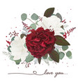 floral bouquet design with garden red white roses vector image vector image