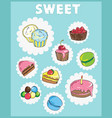 icons on the theme of sweets cake icons vector image vector image