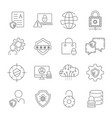 internet security and digital protection icons set vector image