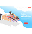 isometric flat landing page template of vector image vector image