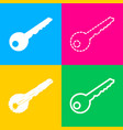 key sign four styles of icon on four vector image vector image