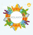 kolkata india skyline with color buildings blue vector image vector image