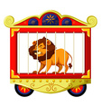 Lion in circus cage vector image vector image