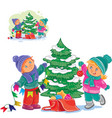 little boy and girl decorating a christmas vector image vector image
