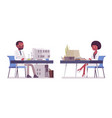 male and female black scientist working at desk vector image vector image