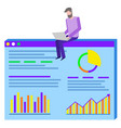 man working on project plan and finance report vector image vector image