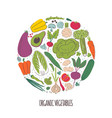 organic vegetables hand drawn color vector image vector image