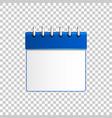 realistic calendar blue on transparent background vector image