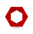 red hexagon shape logo icon vector image