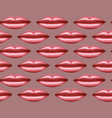 seamless pattern glossy lips on pink vector image
