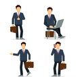 Set of businessmen character in black suit vector image vector image