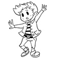 simple black and white boy dancing vector image