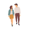 smiling dating couple together isolated people vector image vector image