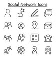 social network media icon set in thin vector image