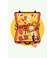 Summer Travel on an Open Suitcase vector image vector image