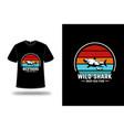t-shirt wild shark deep sea fish color orange red vector image vector image