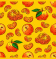 tangerines fruit seamless pattern citrus fruits vector image