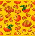 tangerines fruit seamless pattern citrus fruits vector image