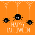 Three cute hanging fluffy spiders on web Happy vector image vector image