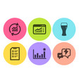 web traffic efficacy and update data icons set vector image vector image