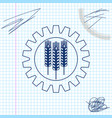 wheat and gear line sketch icon isolated on white vector image vector image