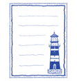 Writing paper or letter paper with lighthouse vector image