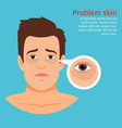 young man face problem black circles vector image vector image