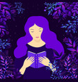 young witch girl with purple hair surrounded vector image