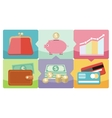 Dollar purse coin box pig icons vector image