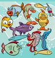 funny fish cartoon characters group vector image