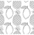 pineapples and lemons seamless pattern with hand vector image