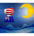 A floating balloon with the New Zealand flag vector image vector image