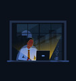 black business man working on computer in the vector image